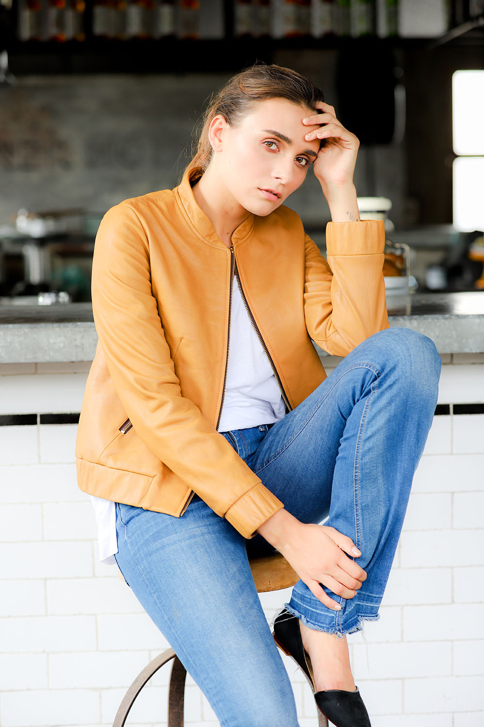Leather bomber jacket for women; tan leather bomber jacket for women