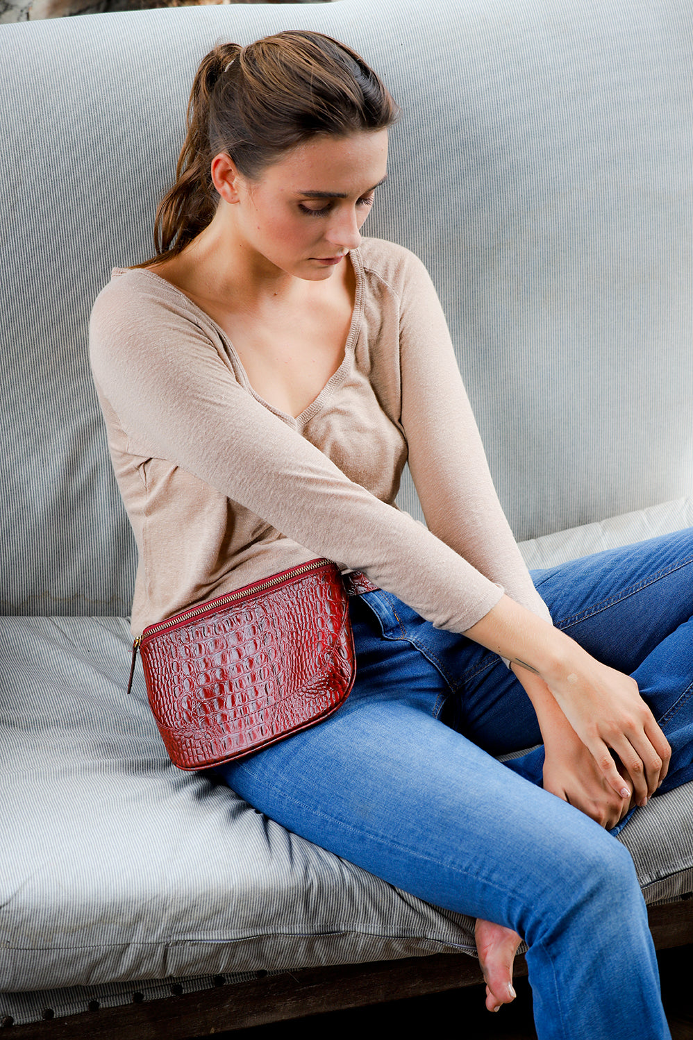 Burgundy Fanny pack, leather fanny pack, belted fanny pack, crocodile embossed leather fanny pack, CV fanny pack, Clare V fanny pack
