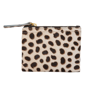Leopard Print Calf Hair Coin Purse and Card Holder