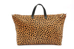 Leopard Print Leather Weekender Handbag