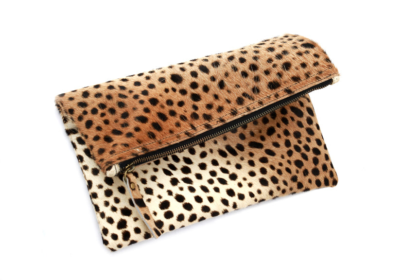 Leopard animal print leather clutch purse Handbag for Women