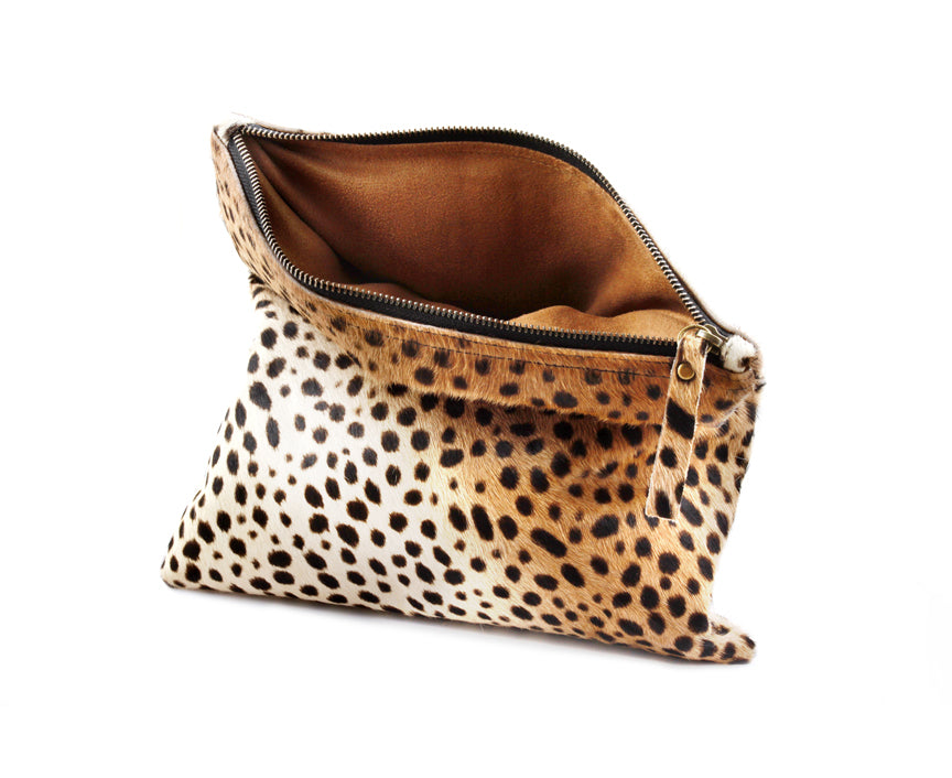 Clutch purse Calf hair leather bags Animal Print Handbags