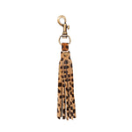 Cheetah Print Tassel Keychain Bag Charm hair on hide leather