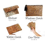 Foldover Clutch-Genuine Calf Hair Cheetah Print