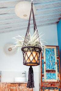Black Macrame Hanging Planter
