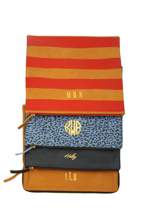 Monogrammed Camel Clutch Bag
