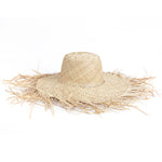 Side view Natural color wide brim with frayed edge women straw hat