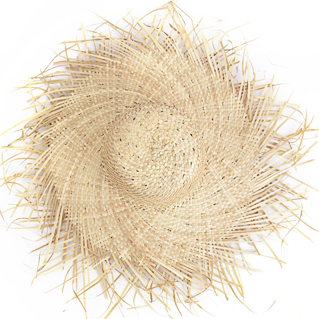 Top view Natural color Wide Brim with Frayed Edge Women Straw Raffia Hat