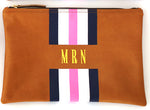 Wellington Camel Stripe Monogram Tote