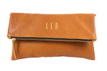 Monogrammed Tan Leather Foldover Clutch Handbag