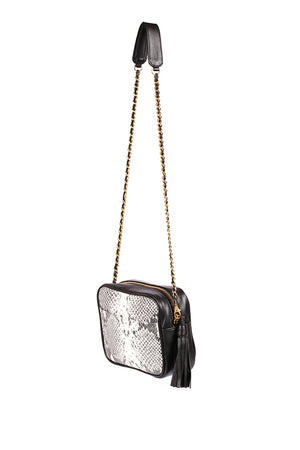 Python Embossed Leather Mini Camera Bag-Black