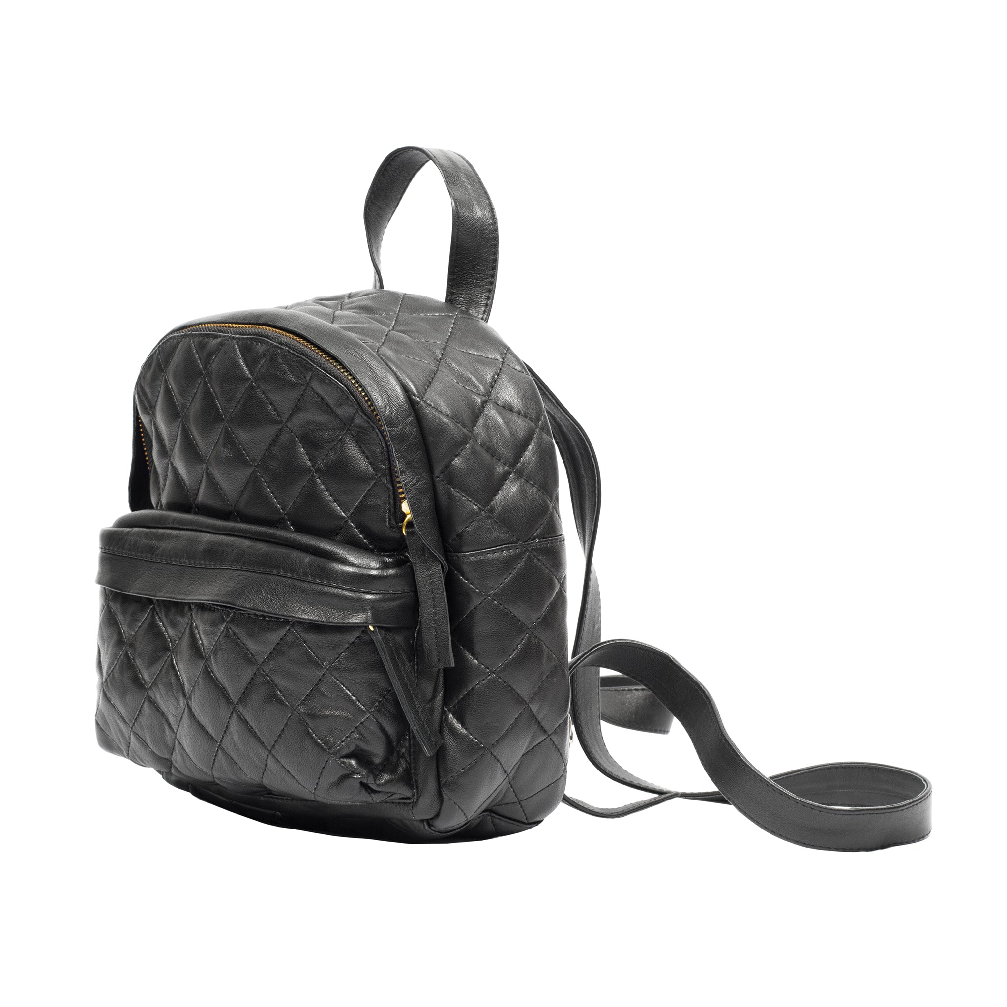 quilted black leather small women backpack