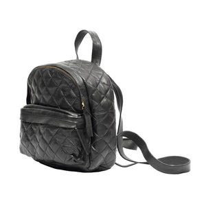 black leather backpack for women and girls; quilted backpack