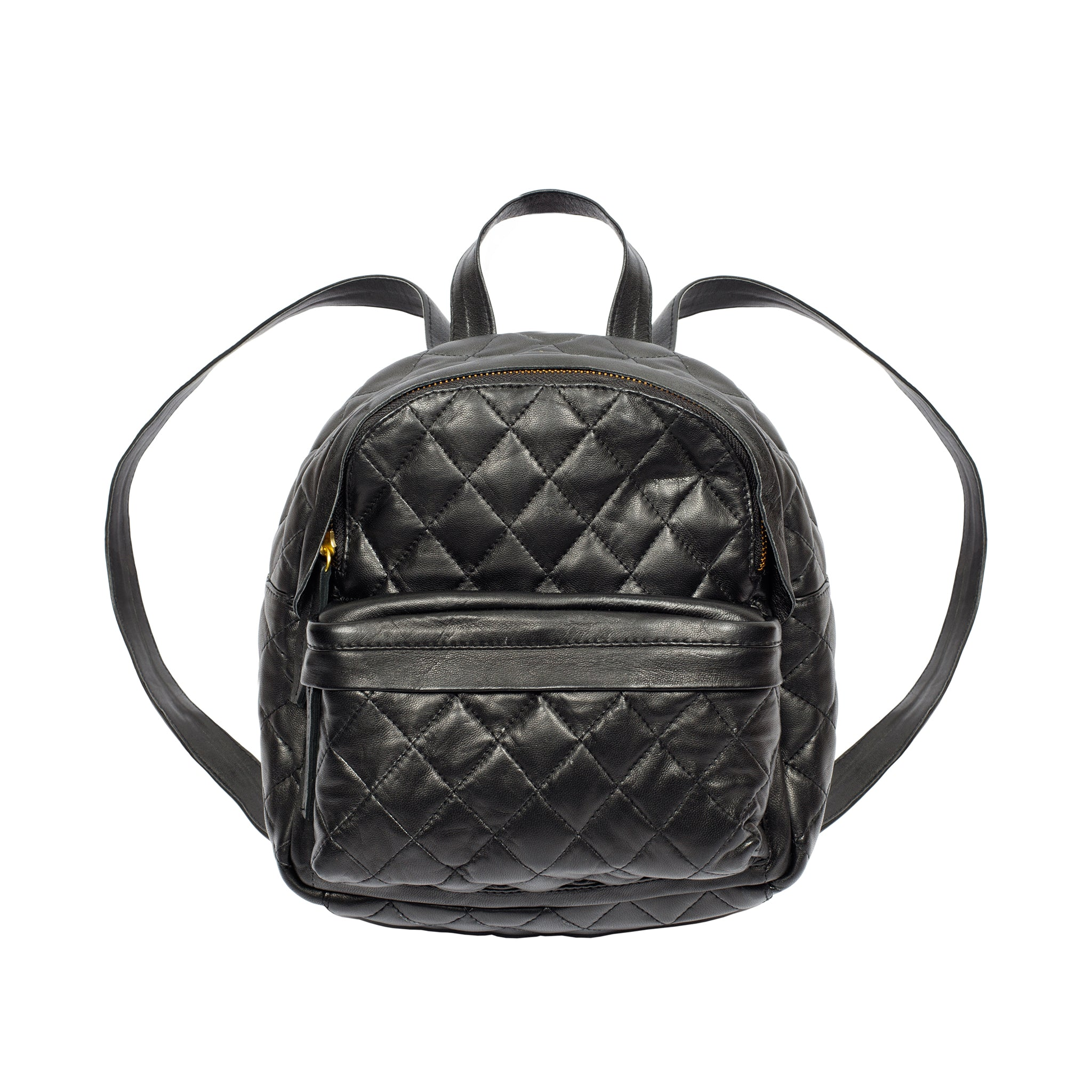 Women's black leather quilted backpack; Travel bag; black backpack