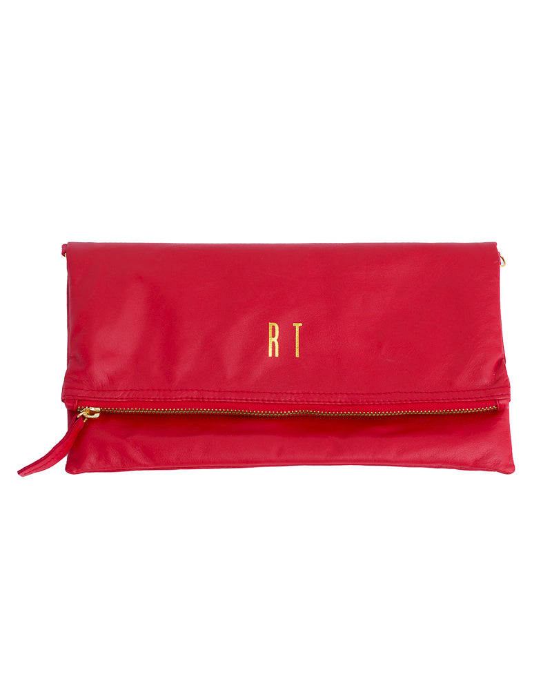 Monogrammed Red Leather Foldover Clutch Handbag