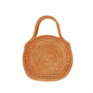 Circle Basket Wicker Handbag