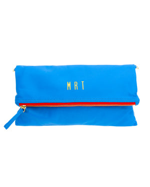Monogrammed Royal Blue Leather Foldover Clutch Handbag