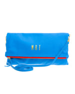 Monogrammed Royal Blue with Red Zipper Leather Crossbody Foldover Clutch Handbag
