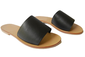black sandals; black leather sandals; all leather black sandals; women's slide sandal, black slides