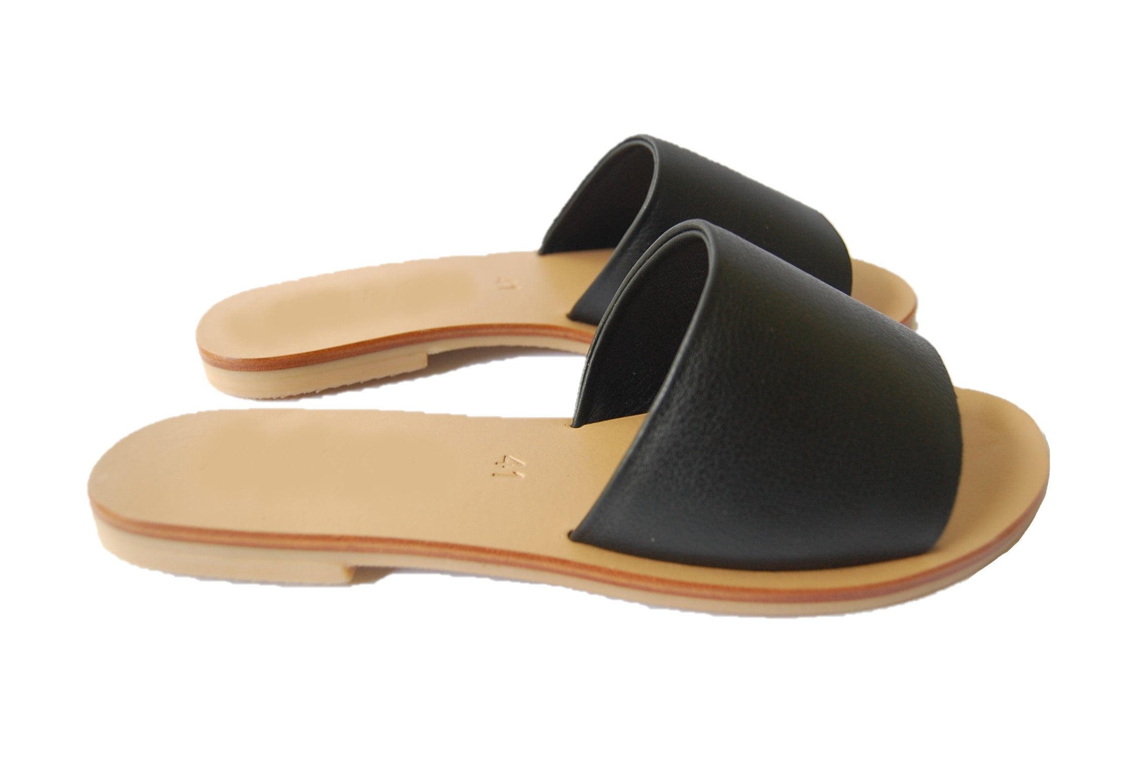 black slide sandals; women's single strap sandal; womens sandalsl; black slide leather sandal