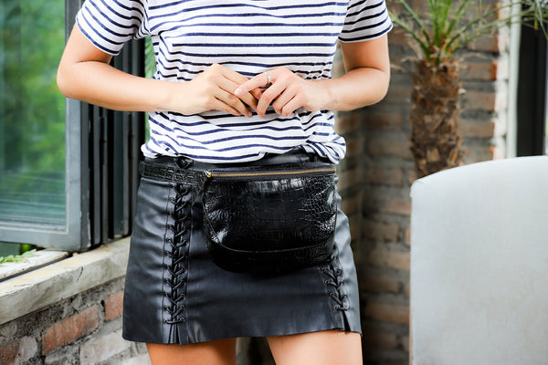 Soho-Crocodile Embossed Patent Leather Fanny Pack-Black