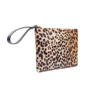 Leather Spotted Leopard Hair on Hide Pony Calf Hair Wristlet Handbag for Women