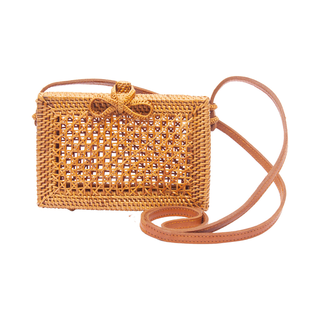 Tan Mesh Rattan Basket Handbag