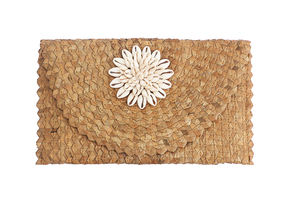 Cowrie shell straw clutch 6 inches height and 12 inches wide