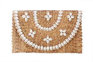 Brown cowrie shell basket clutch size 6 inches height and 12 inches width