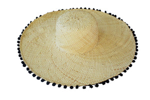 Straw Pom Pom Beach Hat