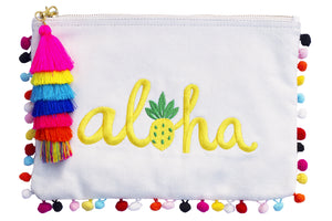 Cream Canvas Yellow Embroidered word Ahola with colorful pompoms clutch bag