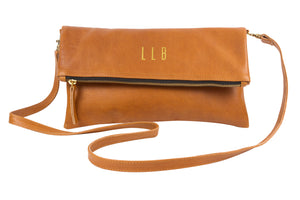 Monogrammed Tan Leather Crossbody Foldover Clutch Handbag