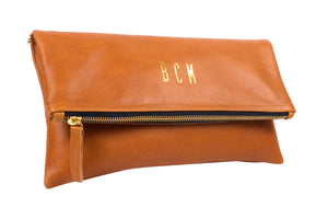 Side View Monogrammed Tan Leather Foldover Clutch Handbag