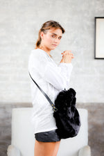 Black fur women handbags