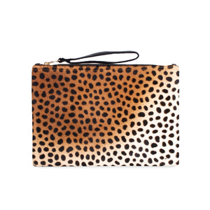 Flat Wallet Leopard Hair On Hide  Clutch Handbag for Women