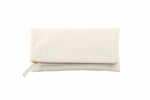 Monogrammed White Leather Foldover Clutch Handbag