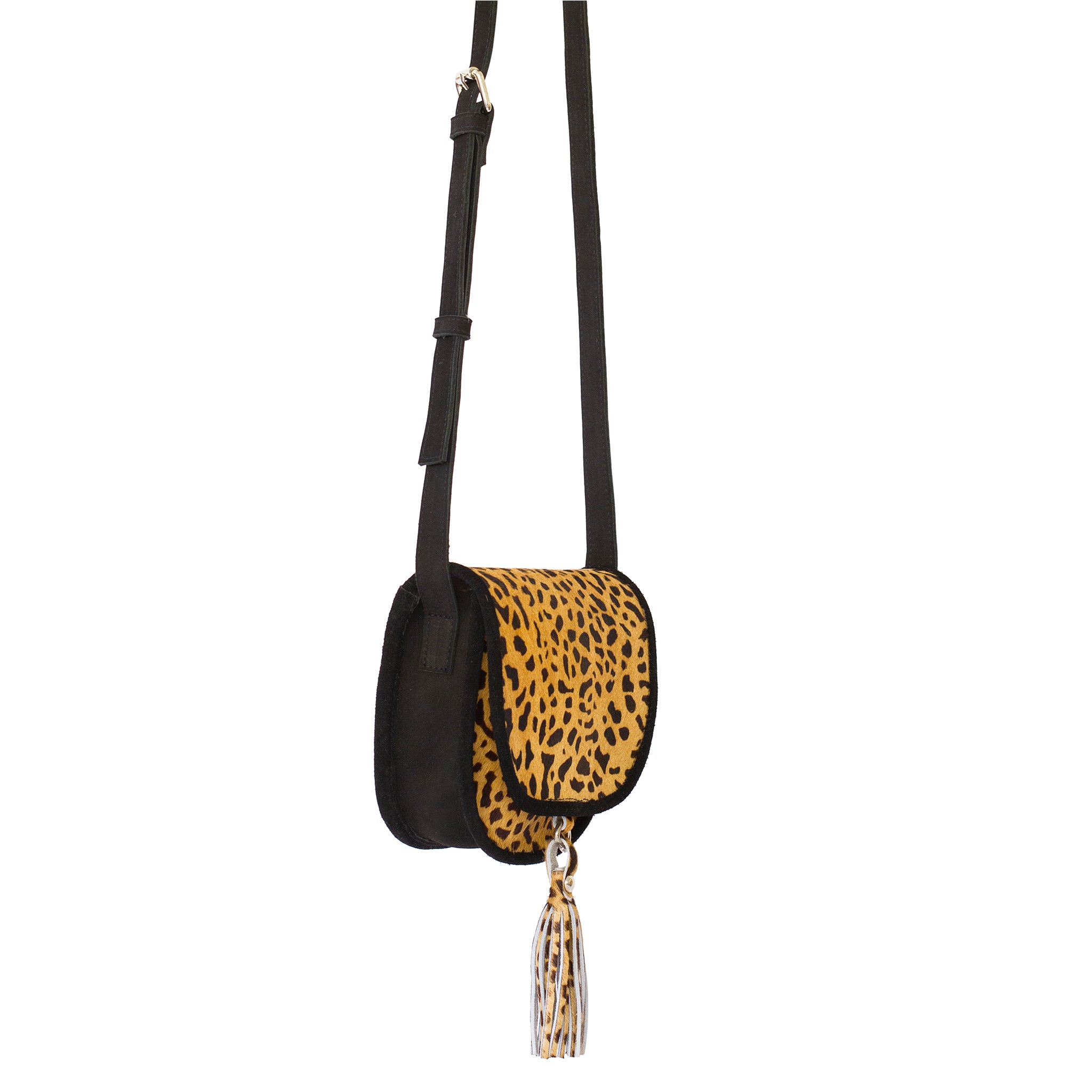 Saddle Crossbody Shoulder Bag-Leopard Print Genuine Calf Hair Leather