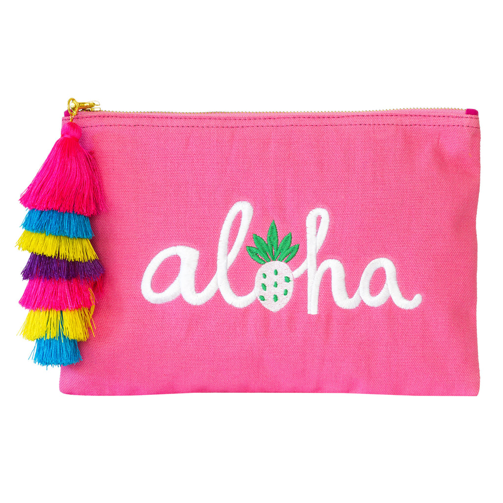 Pink Canvas White Embroidery Word AHOLA  with colorful tassel