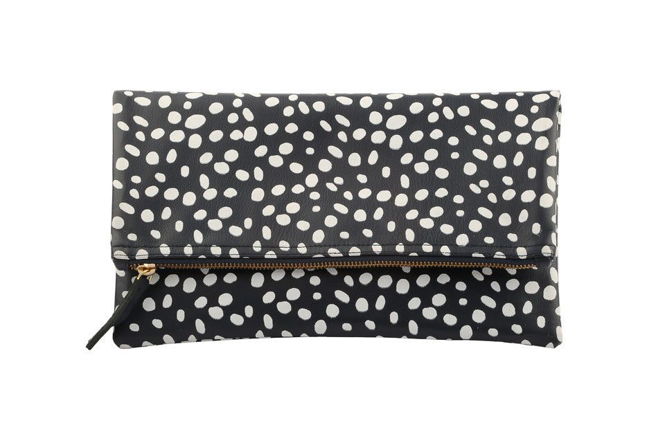 Foldover clutch; Spotted Leopard Print Clutch; Clutch; Bags and Purses; Dalmatian Clutch; Bridesmaid gift; Wedding Gift Idea