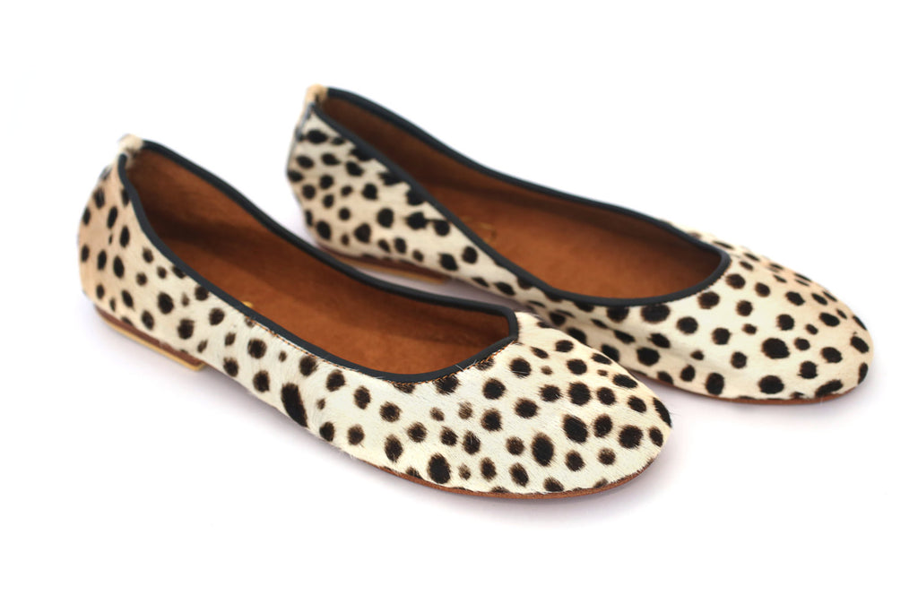 Cream Genuine Leopard Print Calf Hair Leather Ballerina Flat Women Shoes