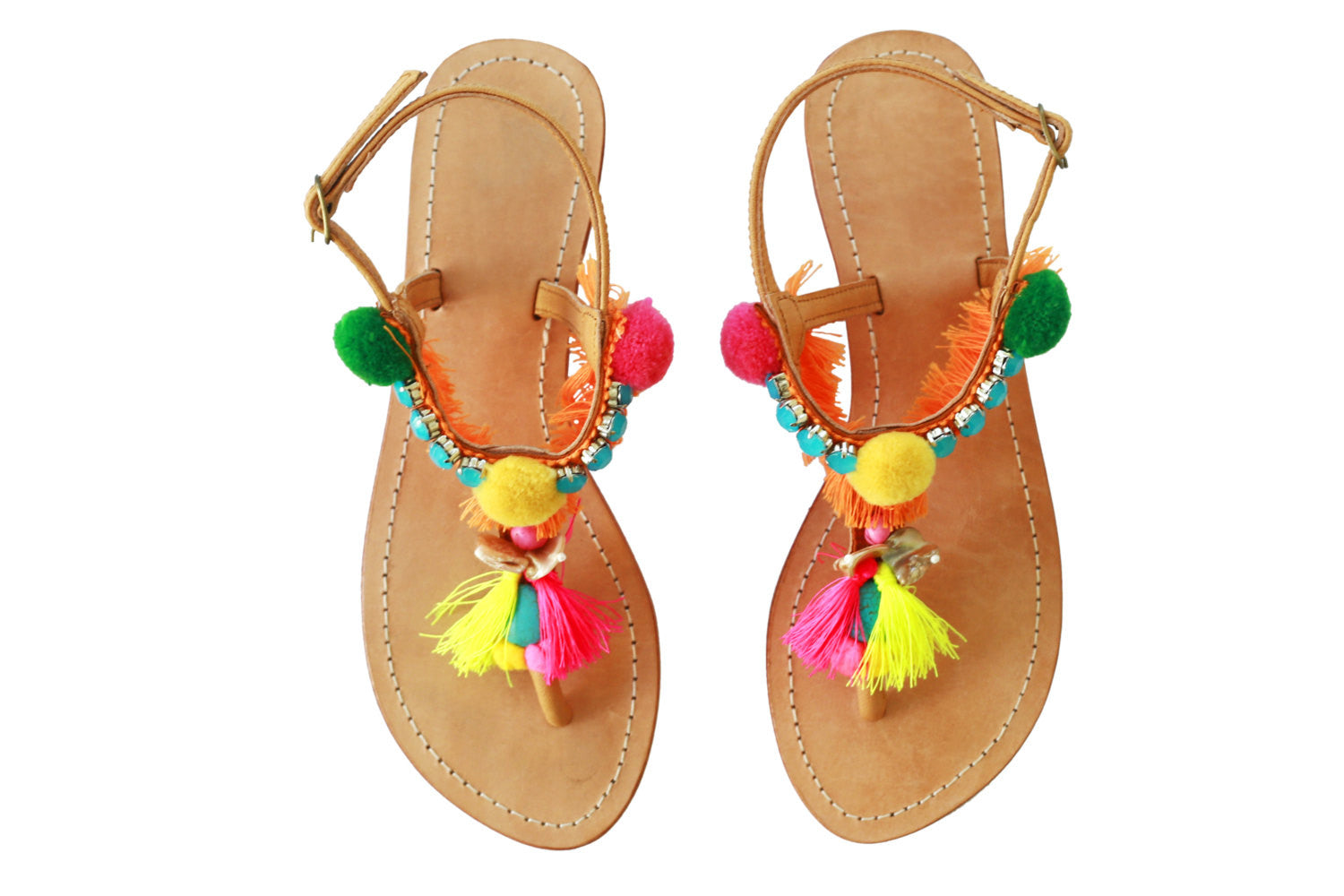 PomPom Sandals; Decorative PomPom sandal; Bohemian pom pom beach sandals