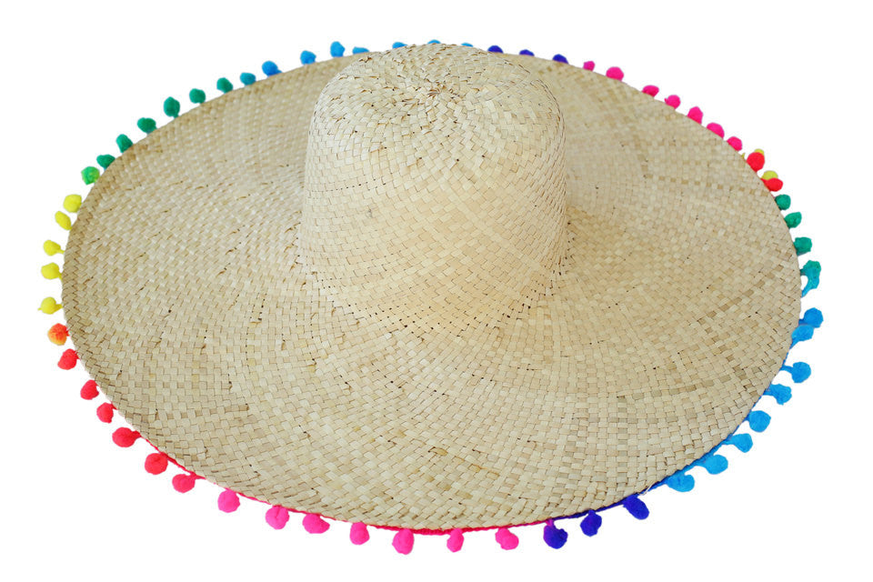 beach accessories; beach hat; pompom beach hat; straw pompom beach hat;