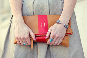 Clare V. Stripe Monogram Clutch; handbags; bags and purses; bridesmaid gift; bridesmaid personalized gift idea