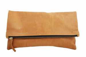 Foldover Clutch every day bag; bags and purses; CV. Leather clutch bag; Tan leather clutch bag