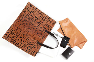 Clare V. Leopard Genuine Calf Hair leather Tote; Bags and Purses; Leather Tote; Calf Hair Tote; Leather Tote Bag
