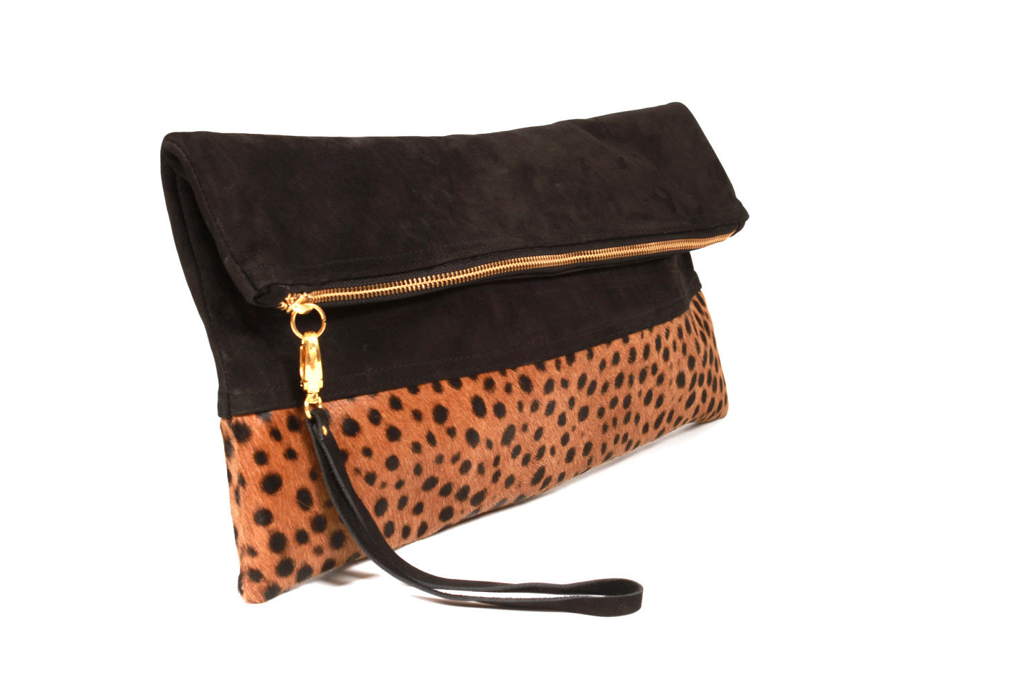 Oversized Leopard Print and Suede Clutch, Leather Clutch, Calf Hair Leather fold over clutch