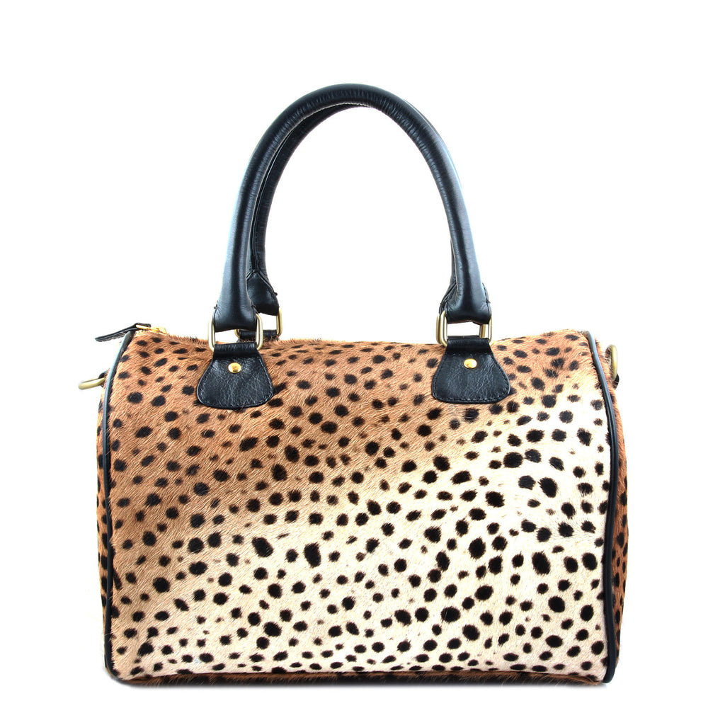Women's Handbag; Duffle Bag; Genuine leopard print calf hair bag; Leather duffle bag; small duffle bag; crossbody duffle bag; travel duffle bag; calf hair duffle bag; pony hair duffle bag; Duffle bags for women