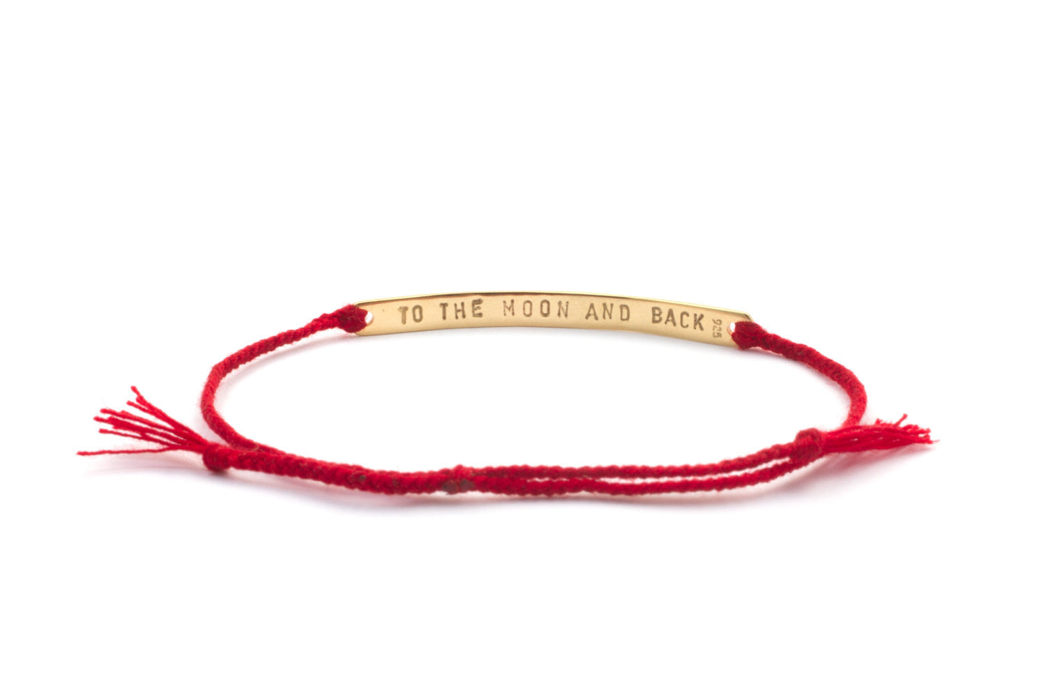 Personalized Hand Stamped 14k gold plated Bracelet with Braided Red Thread, Letter bracelet