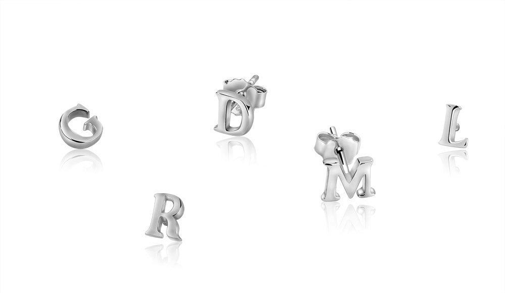 Initial Stud Earring women girls baby gift idea for her