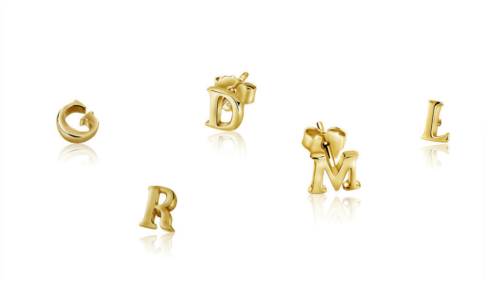 Inital Stud Earrings Vermeil 14k Gold
